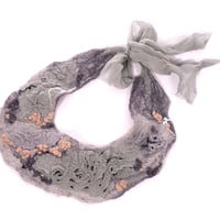 Felted Necklace Felted Collar Nuno felt Pastels Gray Pink powder, fiber art, chiffon silk, merino, beads, wool collar, fiber necklace, OOAK