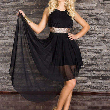 Black Sleeveless Racer Back High-Waisted Long Back Dress