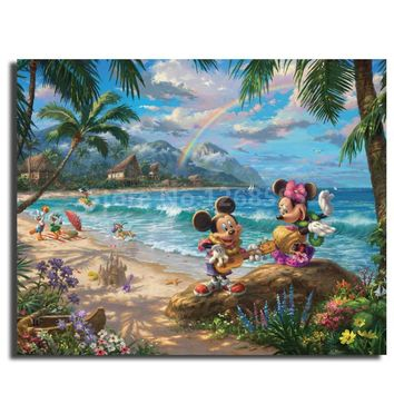 Thomas Kinkade Mickey And Minnie In Hawaii Sweetheart Affinity Wall Art Painting Decorative Picture for Office Modern Home Decor
