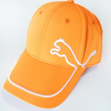 PUMA Fashion New Embroidery Women Men Sunscreen Travel Cap Hat Orange