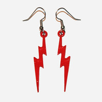 Lightning Bolt Earrings, Lightning Jewelry, Thunder Bolt Earrings, Red Lightning Bolts