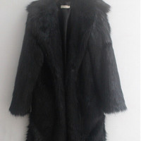 Warm Winter Soft Shaggy Faux Fur Long Trench Men's Trendy Slim fit Faux Fur Coats For Motorcycle Outerwear Nordic Nights Coat