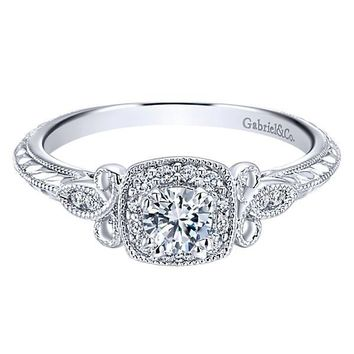 14K White Gold .37cttw Vintage Halo Diamond Engagement Ring
