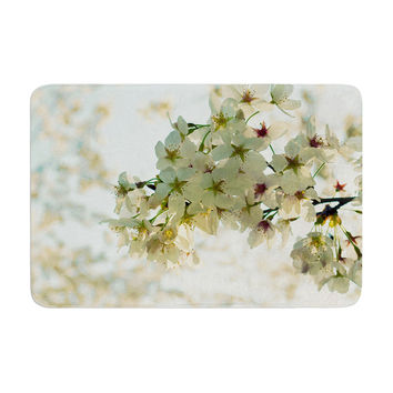"Robin Dickinson ""Cherry Blossoms"" White Flower Memory Foam Bath Mat"