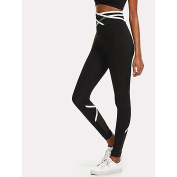 Crisscross Mesh Waist And Back Leggings Black