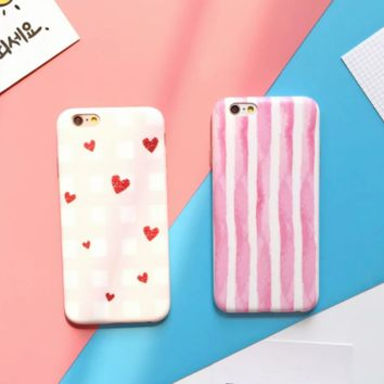 Fashion color stripe/lovely heart plastic Case Cover for Apple iPhone 5s 5 6 Plus 6 -05011