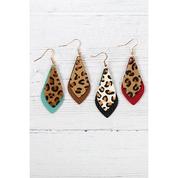 Leopard Marquise Leather Earrings