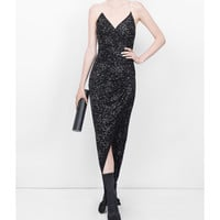 Balmain Strass Details Spaghetti Dress - Black Viscose Dress