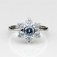 5mm Natural Aquamarine 0.5ct Round Center 925 Sterling Silver Natural Gemstone Princess Queen's Wedding Ring (CFR0176-0.5CT)