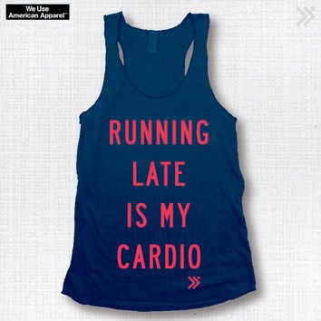 NEW ITEM!! RUNNING Late Is My Cardio Funny Gym Tank in Navy / Neon Coral, workout Tank, Exercise Top, Workout Top, Yoga Top