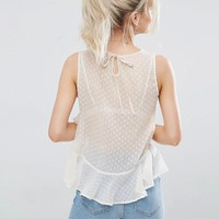 New Look Petite Chiffon Frill Top at asos.com