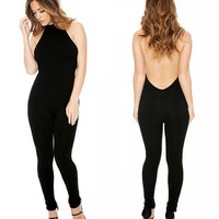 Adogirl Black Plus Size Halter Backless Jumpsuit Women Fashion Full Length Combinaison Femme Sexy Skinny Bodycon Rompers