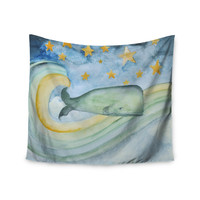 "Jennifer Rizzo ""Swimming With The Stars"" Illustration Animals Wall Tapestry"