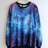 Blue Round Neck Galaxy Print Ribbed Sweateshirt