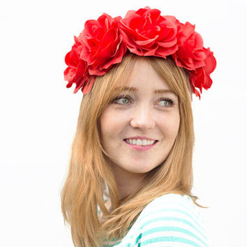 Red Orange Rose Crown -Cardinal Red, Coachella 2015, Rose Flower Crown, Tangerine, Bright Red, Red Rose Crown, Festival Style, Floral Crown