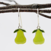 Thin Pear dangle drop earrings hand enameled yellow green. sterling silver Fruits healthy farmer earrings.