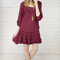 Crochet Ruffle Peasant Dress