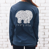 Elephant Print Loose Long Sleeve T-Shirt Harajuku