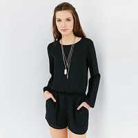 Black Elastic Waist Cuff Sleeves Backless Romper