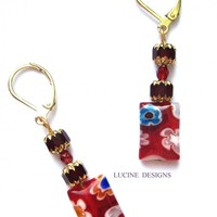 Red earrings millefleurs fashion jewelry on Handmade Artists' Shop