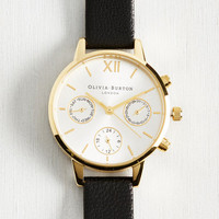 Wrist Opportunity Watch in Black & Gold - Midi | Mod Retro Vintage Watches | ModCloth.com