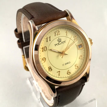 """Chunky Russian Men's  wristwatch """"FLIGHT""""-(Poljot),17 jewels, with date, Gold Plated mechanical watch. Comes with New Leather band!"""