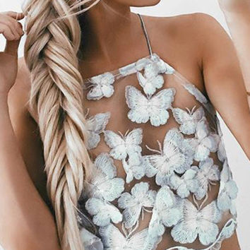 White Butterfly Embroidered Mesh Cami Top