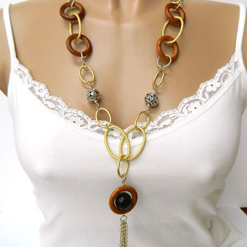 Tassel Necklace Long Chunky Handcrafted Wood Pendant Gold and Silver Unique
