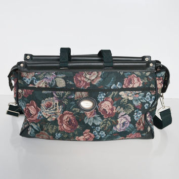 Vintage 80s Overnight Bag Floral Print Weekender Bag Carry On Bag by American Tourister Soft Luggage Tapestry Bag Suitcase