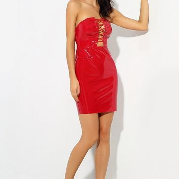 Red Cut Out Cross Straps Faux Leather Party Dress