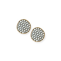 Ethos Maria 18K Yellow Gold Blue Topaz Button Earrings