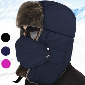JUN JUN.W Outdoor Hiking Russian Caps Winter Trapper Hat Ushanka Russian Style Hat With Ear Flap Chin Strap and Windproof Mask