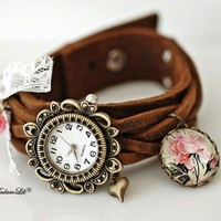 Shabby Roses Bracelet Leather Watch