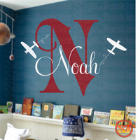 "Airplane Name Decal - Initial and Name vinyl Monogram Wall Lettering for Baby Boy or Girl Nursery Plane 22""H x 32""W"