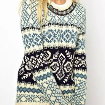 Light Blue Jacquard Long Sleeve Pullover Sweater