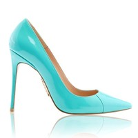 Shoes: 'PARIS' Aqua Patent Leather Pointy Toe Heels 4""
