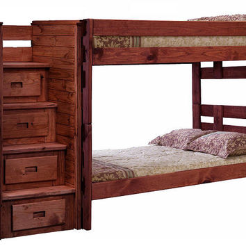 Jericho Extra Long Full over Full Stairway Bunk Bed