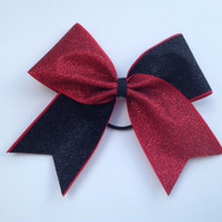 Red and Black Glitter Cheer Bow  cheerleading