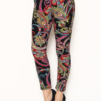 Paisley Print Zipper Pants with Fur Lining