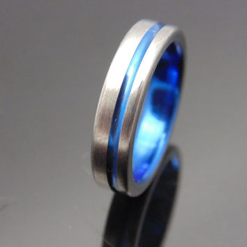 Titanium ring with offset anodized Blue pinstripe