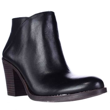 Lucky Brand Eesa Block Heel Pull On Ankle Booties, Black, 5.5 US / 35.5 EU