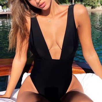 Summer Fashion Women Deep V Collar Pure Color One Piece Bikini Swimsuit Bodysuit Black