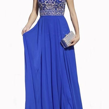 PRIMA 17-20210 Royal Beaded Halter Chiffon Prom Dress