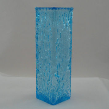 Davidson / Brama blue Luna vase.  Bark textured vase in light blue glass designed in 1971 by British manufacturer Brama