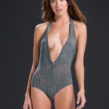Deep End Ribbed Halter Bodysuit GoJane.com