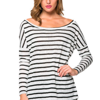 Black Striped Boatneck Top