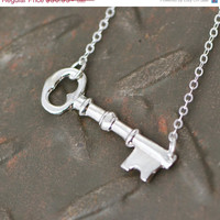 Fall Sale Sterling Silver Key Necklace - Sterling Silver Key - Skeleton Key - Key Pendant - Key Jewelry - Sterling Key