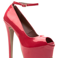 Red Bombshell Patent Peep Toe Pumps
