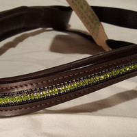 Bling English Curved Cob Size Browband Spring Green and Black Rhinestone