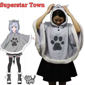 Neko Atsume Cat Backyard Cosplay Cloak Cute Japanese Cartoon Warm Costume Hoodies With Tail Kawaii Daily Fleece Coat